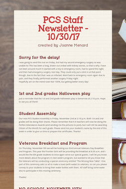 PCS Staff Newsletter - 10/30/17