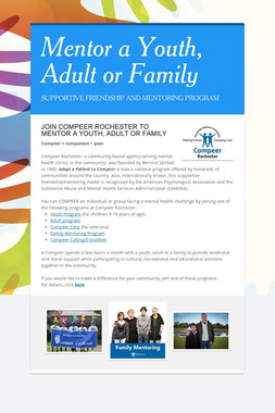 Mentor a Youth, Adult or Family