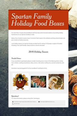 Spartan Family Holiday Food Boxes
