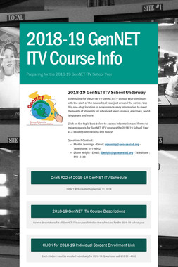 2018-19 GenNET ITV Course Info