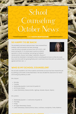 School Counseling October News