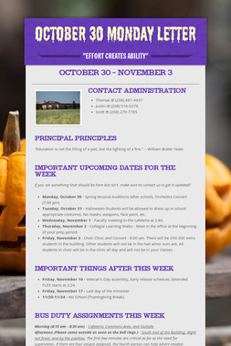 October 30 Monday Letter
