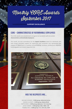 Monthly CORE Awards September 2017