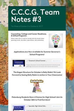 C.C.C.G. Team Notes #3