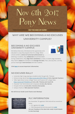 Nov 6th 2017 Pony News