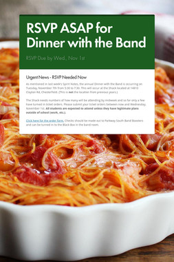 RSVP ASAP for Dinner with the Band