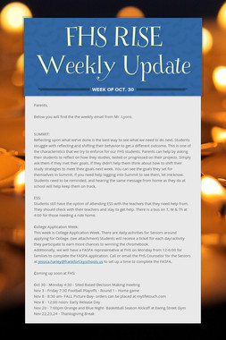FHS RISE Weekly Update