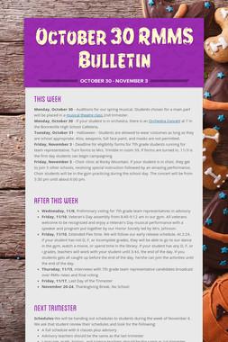 October 30 RMMS Bulletin