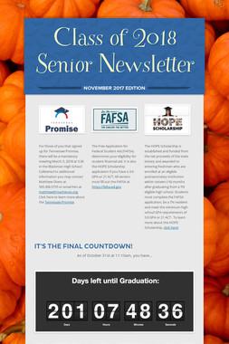 Class of 2018 Senior Newsletter