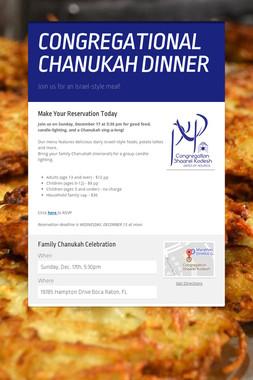 CONGREGATIONAL CHANUKAH DINNER