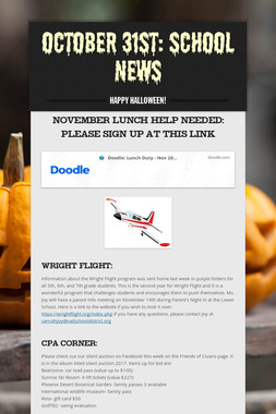 October 31st: School News
