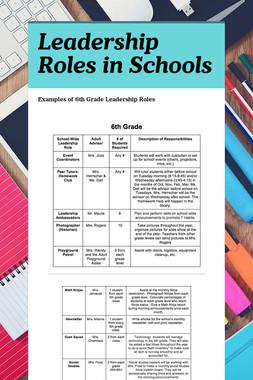Leadership Roles in Schools