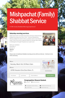 Mishpachat (Family) Shabbat Service