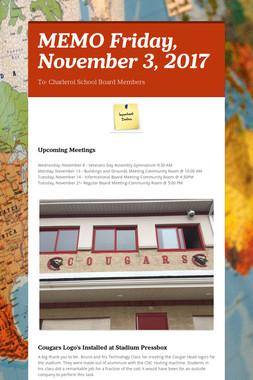 MEMO    Friday, November 3, 2017