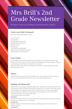 Mrs Brill's 2nd Grade Newsletter