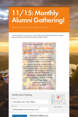 11/15: Monthly Alumni Gathering!