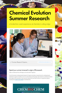 Chemical Evolution Summer Research