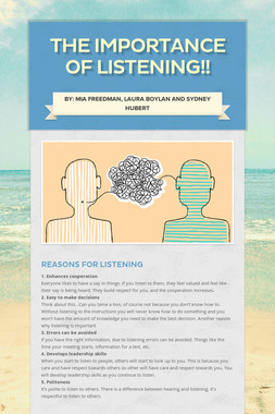 THE IMPORTANCE OF LISTENING!!