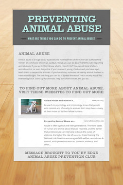 Preventing Animal Abuse