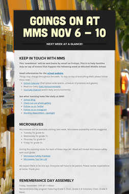 Goings On at MMS Nov 6 - 10