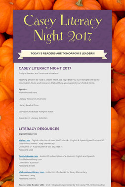 Casey Literacy Night 2017