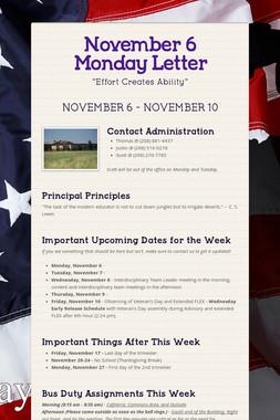 November 6 Monday Letter