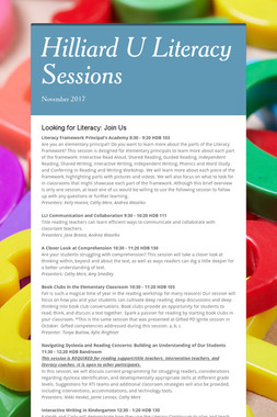 Hilliard U Literacy Sessions