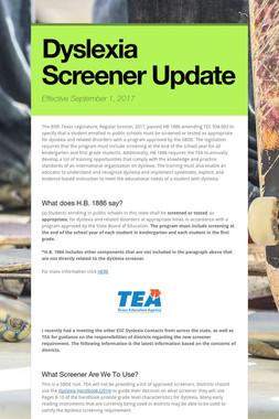 Dyslexia Screener Update