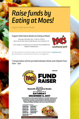 Raise funds by Eating at Moes!