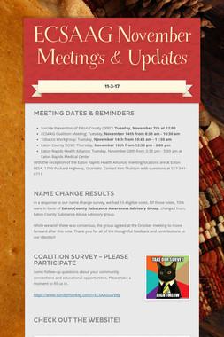 ECSAAG November Meetings & Updates