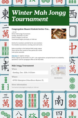 Winter Mah Jongg Tournament
