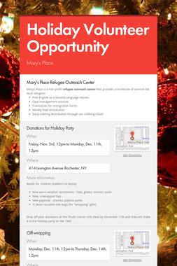 Holiday Volunteer Opportunity