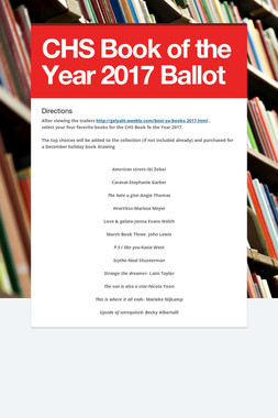 CHS Book of the Year 2017 Ballot