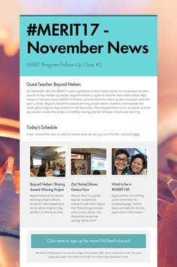 #MERIT17 - November News