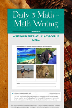 Daily 3 Math - Math Writing
