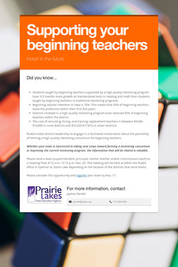 Supporting your beginning teachers