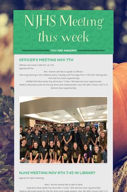 NJHS Meeting this week