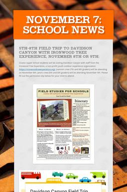 November 7: School News