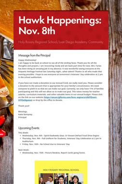Hawk Happenings: Nov. 8th