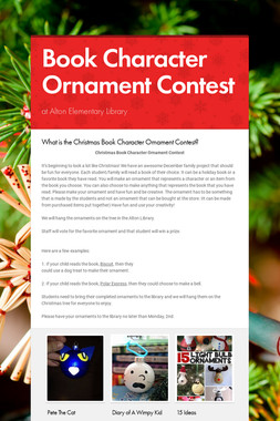 Book Character Ornament Contest