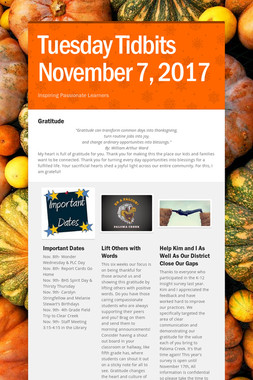 Tuesday Tidbits November 7, 2017