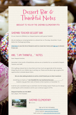 Dessert Bar & Thankful Notes