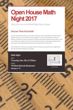 Open House Math Night 2017