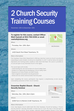 2 Church Security Training Courses