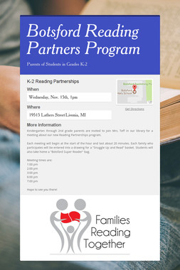 Botsford Reading Partners Program