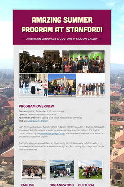 Amazing Summer Program at Stanford!