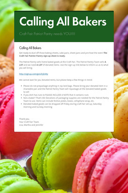 Calling All Bakers