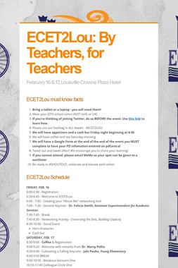 ECET2Lou: By Teachers, for Teachers