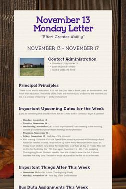 November 13 Monday Letter