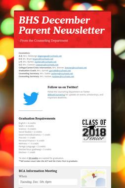 BHS December Parent Newsletter
